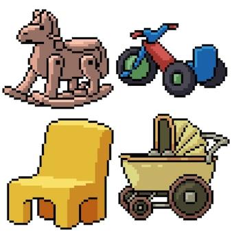 Pixel art set isolato giocattolo del bambino
