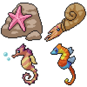 Pixel art set creatura spiaggia isolata