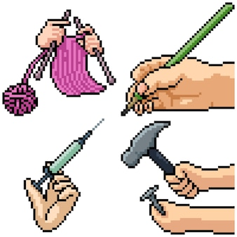 Pixel art set isolato mano che tiene lo strumento