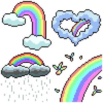 Pixel art set isolato effetto arcobaleno