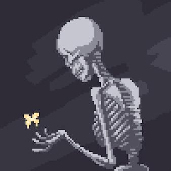 Pixel art di scheletro e farfalla