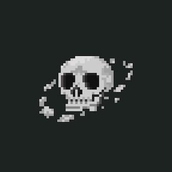 Pianeta della testa del teschio di pixel art