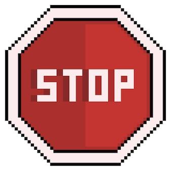 Pixel art segnale di stop icona del segnale stradale per il gioco a 8 bit su sfondo bianco
