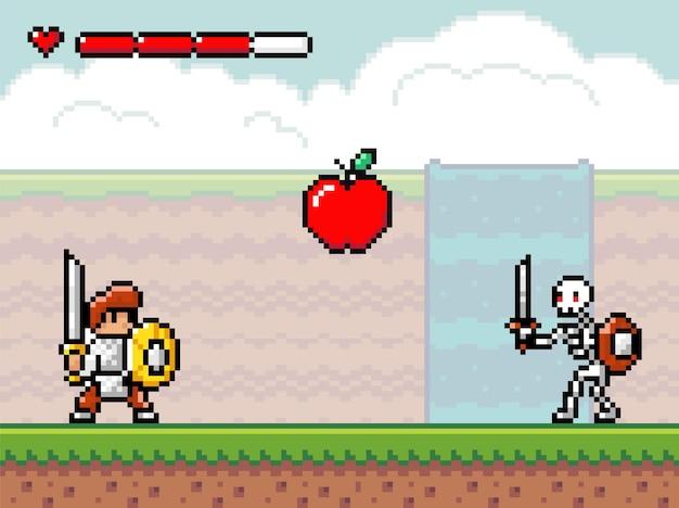 Stile pixel art, personaggi nel gioco arcade