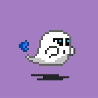 Stile pixel art del fantasma con il fuoco sul retro