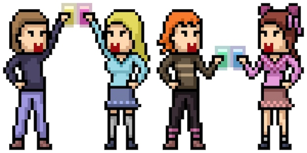 Pixel art della festa di coppia di adolescenti