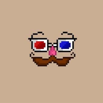 Pixel art di occhiali tridimensionali con baffi