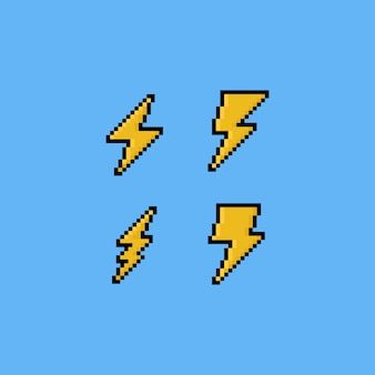 Insieme dell'icona di pixel art thunder.