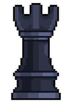 Pezzo degli scacchi della torre di pixel art per il gioco a 8 bit su sfondo bianco