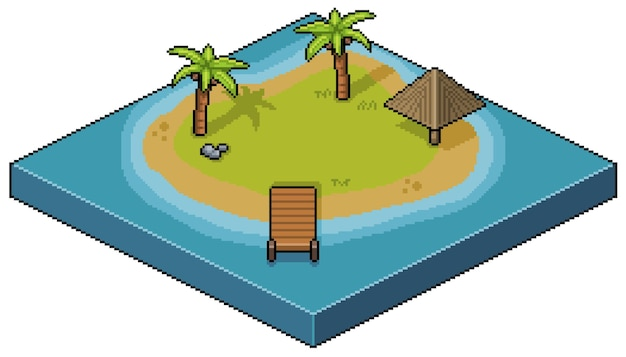 Pixel art isola tropicale, albero di cocco, chiosco, paesaggio isometrico