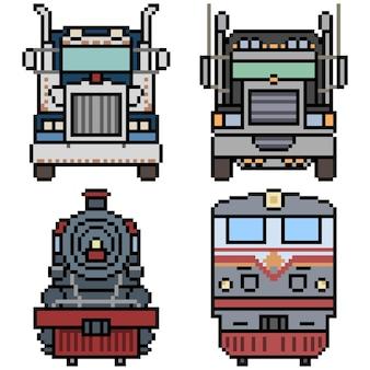 Pixel art di camion e vista frontale del treno