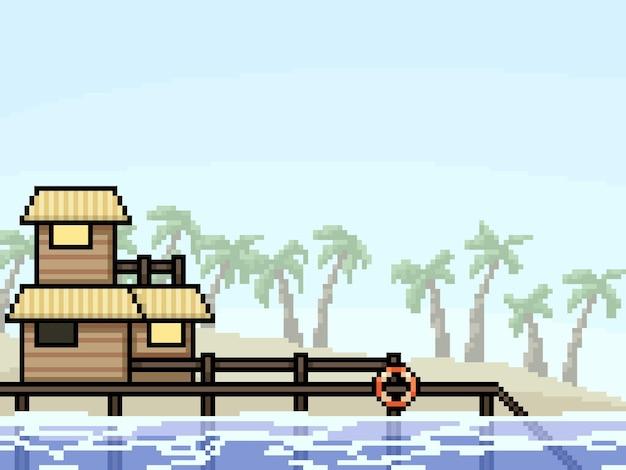 Pixel art dell'illustrazione della spiaggia della località di villeggiatura
