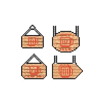 Segno di legno di arte del pixel con l'insieme dell'icona della tazza di birra rossa.