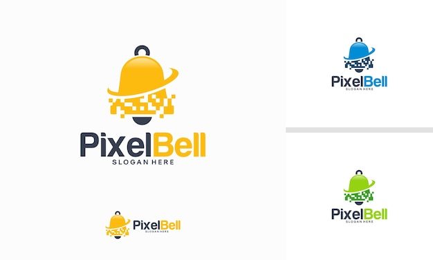 Pixel bell logo progetta il concetto, la tecnologia di notifica logo progetta il modello