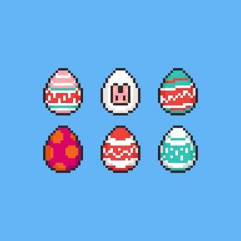 Insieme dell'uovo di pasqua del fumetto del pixel.