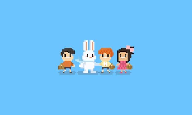 Personaggio dei bambini di pixel con coniglio di pasqua. 8bit.