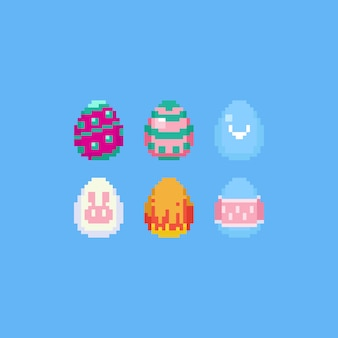 Set di uova di pasqua pixel