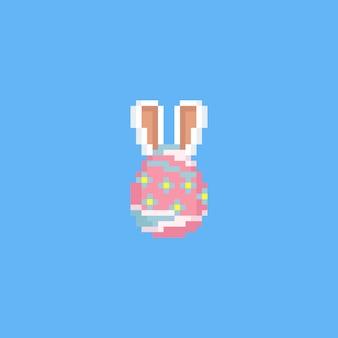Pixel easter egg con orecchie di coniglio