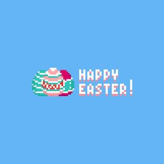 Pixel uova di pasqua con testo di pasqua felice