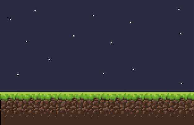 Sfondo del gioco pixel con cielo di erba a terra e oggetti di scena e personaggio