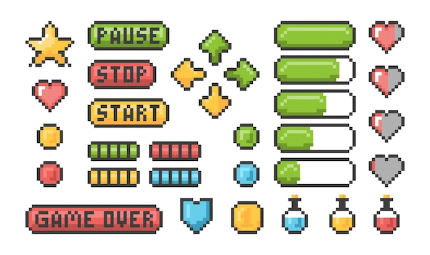 Icona di gioco pixel. barre web dell'interfaccia utente e pulsanti per elementi retrò della console a 8 bit.