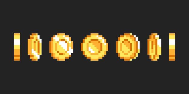 Animazione di moneta d'oro pixel per gioco retrò a 16 bit arte del gioco illustrazione di denaro 8 bit isolato backg