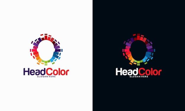 Pixel head logo concetto vettoriale, robotic technology logo template progetta illustrazione vettoriale