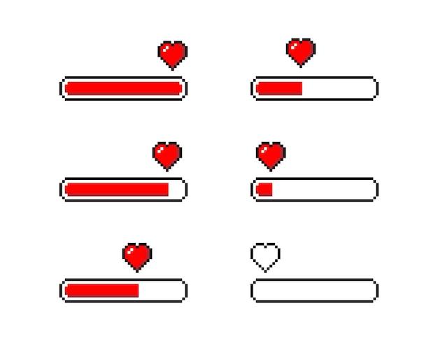 Cuore di pixel. amore caricamento set - illustrazione vettoriale isolato