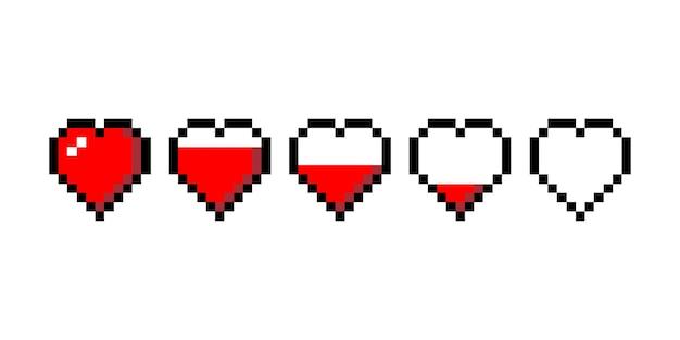 Pixel cuore amore caricamento set illustrazione vettoriale isolato
