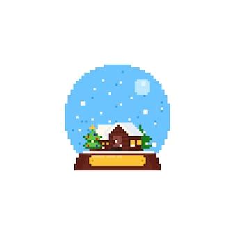 Casa pixel con albero di natale