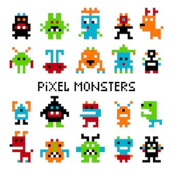 Invasori di pixel Vettore Premium