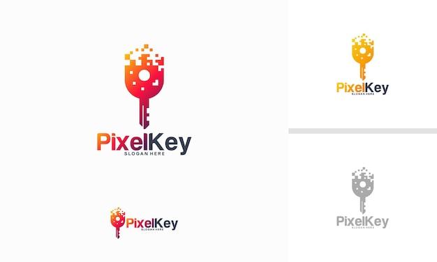 Il logo pixel key progetta il vettore del concetto, il modello del logo della tecnologia chiave