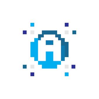 Pixel logo technology logo un'icona iniziale