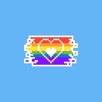 Progettazione del cuore di pixel pride day. 8bit. lgbt.