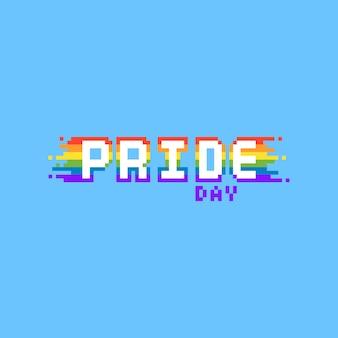 Pixel orgoglio giorno arcobaleno testo