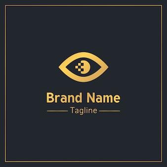 Modello di logo professionale dorato della pupilla di pixel