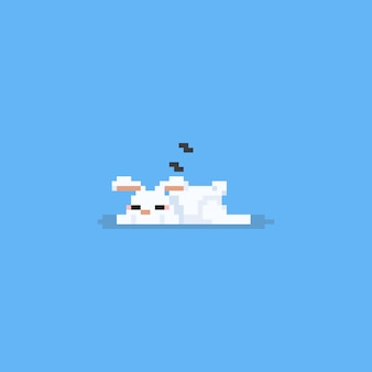 Pixel sleeping white rabbit.easter