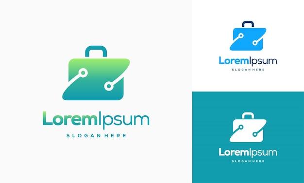 Modello di design del logo della valigia pixel, disegni del logo della valigia con l'illustrazione vettoriale del simbolo della tecnologia