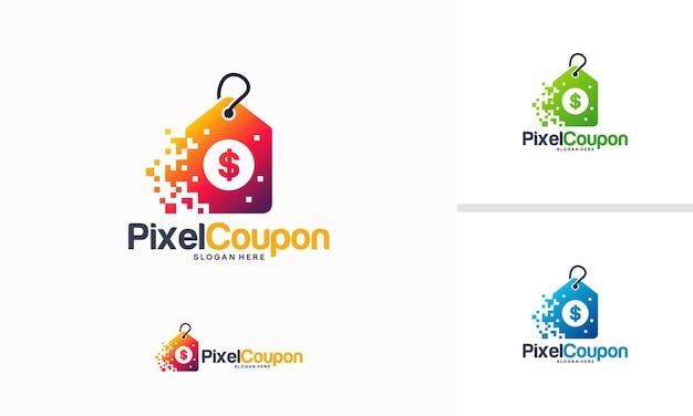 Pixel tech logo concept, modello di design del logo del negozio online