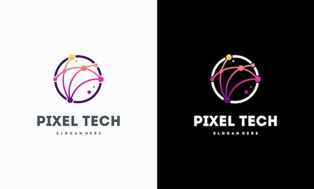 Il logo della tecnologia pixel progetta il vettore del concetto, il simbolo del logo di rete internet, il logo del cavo digitale