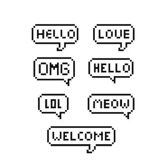 Bolla di testo pixel. fumetto di pixel art su sfondo bianco