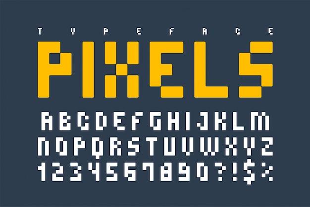 Pixel alla moda composto, carattere semplice