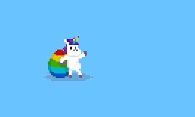 Pixel unicorno con uovo arcobaleno