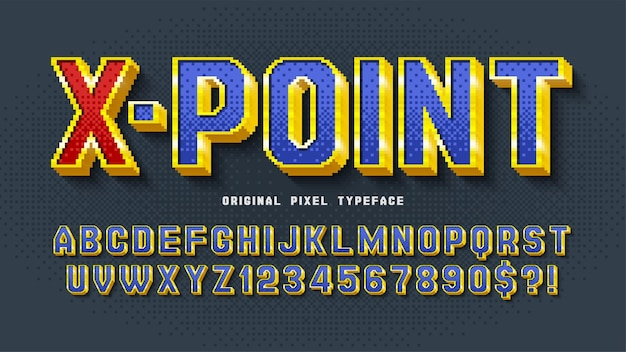 Design dell'alfabeto vettoriale pixel, stilizzato come nei giochi a 8 bit. contrasto elevato, retro-futuristico. facile controllo del colore del campione.