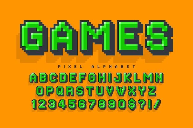 Design dell'alfabeto vettoriale pixel, stilizzato come nei giochi a 8 bit. contrasto elevato e nitido, retro-futuristico. facile controllo del colore del campione. effetto ridimensionamento.