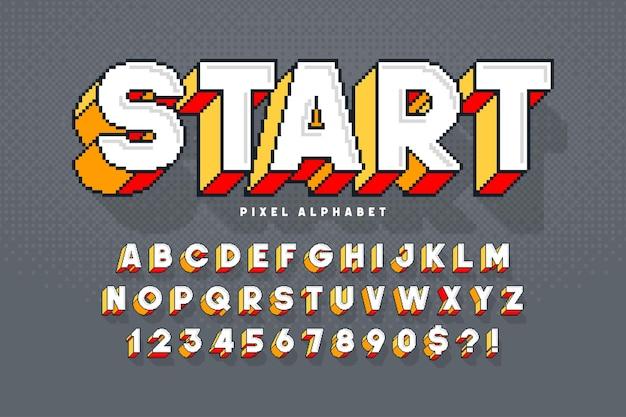 Pixel design alfabeto vettoriale, stilizzato come nei giochi a 8 bit