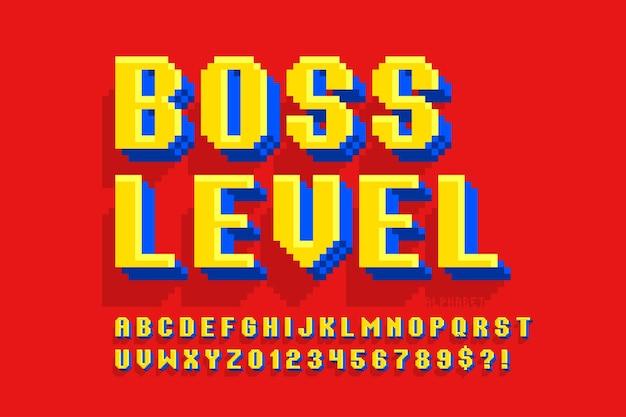 Design dell'alfabeto vettoriale pixel, stilizzato come nei giochi a 8 bit.