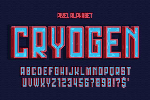 Design dell'alfabeto vettoriale pixel, stilizzato come nei giochi per console. contrasto elevato, retro-futuristico. facile controllo del colore del campione.