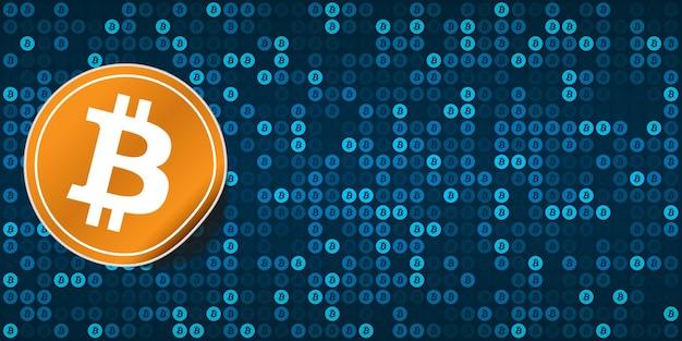 Sfondo blu bitcoin pixelato