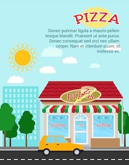 Modello di banner pubblicitario pizza con edificio del negozio